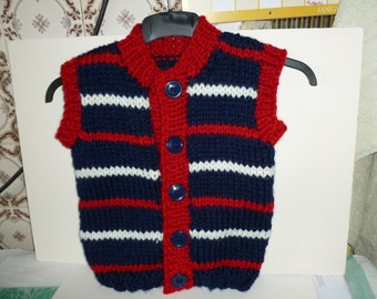 Hand knitted gilet for children