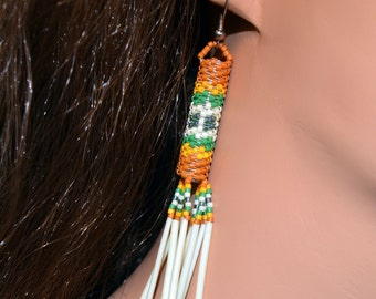 Peyote Stitch Beaded Earrings - Porcupine Quills - Golden Brown and Yellow, Green, White er34 by Southwest Dreaming