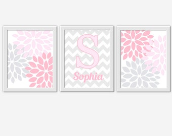 Baby Girl Nursery Wall Art Pink Gray Flower Burst Girl Room Floral Wall Decor Personalized Art Baby Girl Nursery Flower Wall Decor Art Print