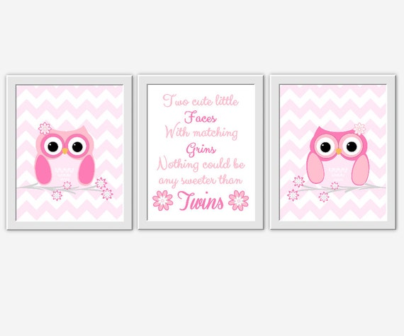 Elephant Twin Nursery Wall Art Nursery Room Decor For Twins: TWINS Baby Nursery Wall Art Owls Pink Gray By