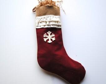 Shabby Chic Burlap Christmas Stocking, Christmas decoration, burlap stocking