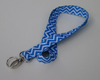 Blue Chevron Keychains for Women, Cool Lanyards for Keys, Id Badge Holder Necklace Lanyards, Cute Lanyards for Badges, Blue Lanyard