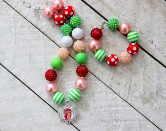 strawberry shortcake chunky bead bubblegum necklace and bracelet set lime green pink red bubblegum bead necklace matching bracelet set