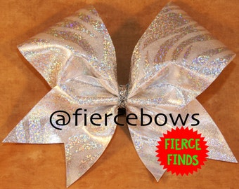Silver Holographic Zebra Cheer Bow