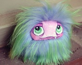 "Monster Plush. Pocket Fluff Monster ""Runt Size"", a blue, green, and pink plush monster art doll plushie"
