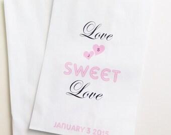 Love Sweet Love Candy Buffet Favor Bags, Wedding Candy Bags, Candy Bar Bags, Treat Bags