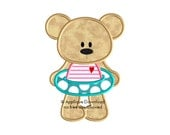 Pool Party Teddy Bear Girl - Instant EMAIL With Download - for Embroidery Machines
