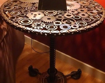 Gear and Sprocket End Table