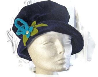 FLAPPER HAT, Gatsby hat, 1920s Cloche Hat, Vintage flapper hat, EuropeanRetroFashion, Accessories, Vintage Gatsby Hat, Blue Flapper Hat