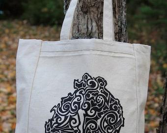 MDI Tribal Tattoo Design Grocery Tote Bag -  Screen Printed Original Design