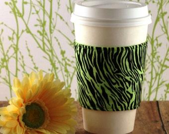 Fabric Coffee Cozy / Neon Green Zebra Print Coffee Cozy / Animal Print Coffee Cozy / Zebra Print Coffee Cozy / Coffee Cozy / Tea Cozy