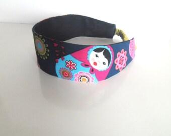 child headband blue matryoshka