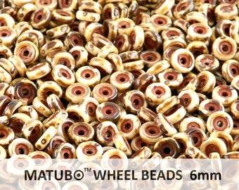 10 g Chalk Travertine Czech Glass Wheel Beads 6 mm (8976)