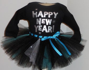 24 months Happy New Year Onesie and Tutu outfit set  Baby's 1st New Year's 2016 holiday 24m