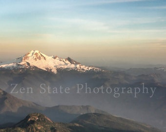Mount Baker Landscape Photograph Mountain Snow Nature Photography Pastel Sunset Mountain Photo Fine Art Print Canvas Art Framed Photography