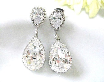 15% OFF Set of Six (6) Cubic Zirconia Ear Posts With Clear Swarovski Crystal Pear Drops Bridal Earrings, Bridemaids Earrings, Bridal Jewelry