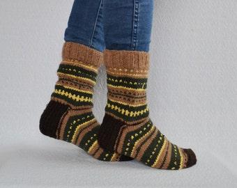 USmen:6-6.5/women7-8/EU 37-38 hand knit wool socks boot socks womens wool socks woodland socks boot socks striped socks upcycled No151
