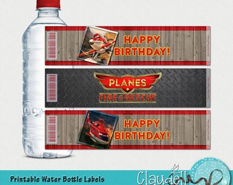 Planes to the Rescue Inspired Printable Water Bottle Labels - 300 DPI