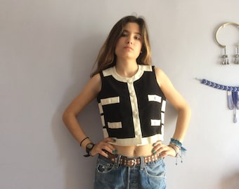 Moschino Cheap and Chic crop top velcro vintage Moschino Cheap & Chic vest vtg cropped top black and white monochrome made in Italy vtg top