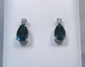 London Blue Topaz with White Topaz Accent Sterling Silver Stud Earrings - FREE SHIPPING!