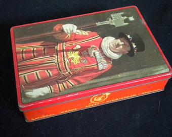 Vintage 1940s Tin Box 'Made in England' Fillerys Toffees Ltd.