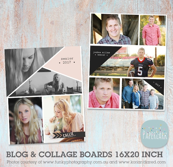 Senior blog board and collage print 16x20 photoshop template for Senior photo collage templates