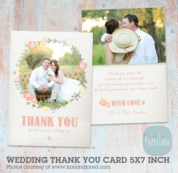 Wedding Thank You Card Photoshop Template AW008 INSTANT