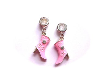 Rhodium Plated Pink Boot Charms- Set of 2 -229-