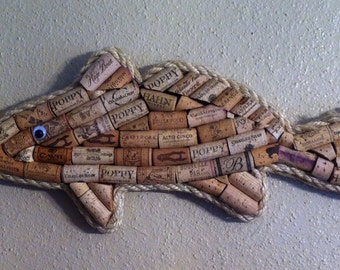 Fish wall hanging made with real wine corks