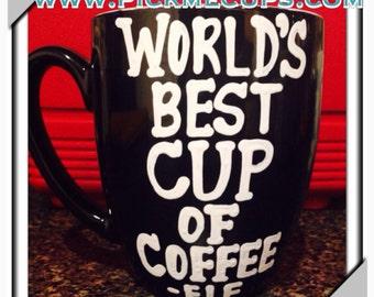World's Best Cup of Coffee mug-  Handpainted- Cotton Headed Ninny Muggin- buddy the elf- funny coffee mug - christmas mug -Elf Gift Funny