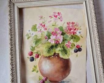 Tableau fleurs peinture originale style shabby par for Tableau style shabby