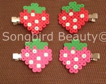 Strawberry Hair clips, perler beads, geekery, kawaii