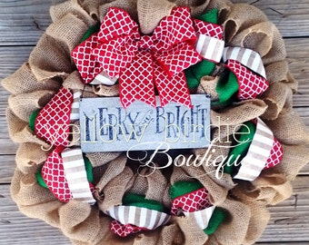 Christmas Burlap Wreath - Natural Burlap Wreath- Christmas Wreath- Front Door Wreath, Holiday Wreath, Winter Wreath