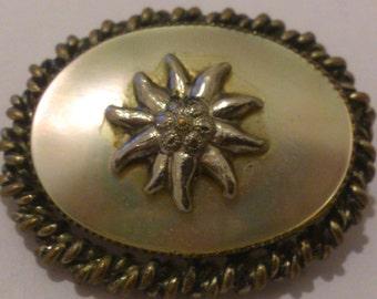 Vintage mother of pearl eidelweiss brooch