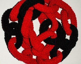Bright Red & Black Chain Link Scarf