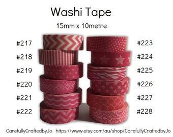 Washi Tape - Pink - 15mm x 10 metres - High Quality Masking Tape