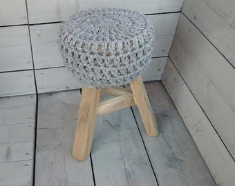 Robust stool with unique crochet session (wool)