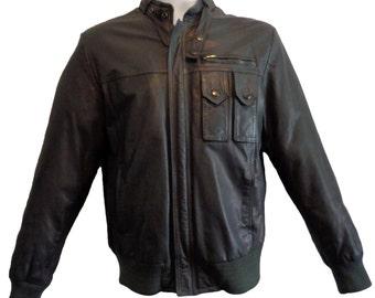 Schott Gray Leather Jacket Cafe Racer Men's Size 38, Vintage Motorcycle Riding Jacket