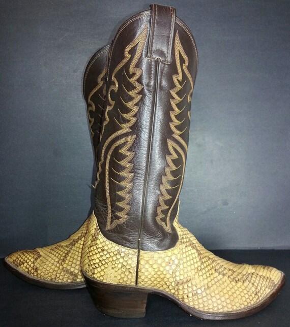 Justin Snakeskin Cowboy Boot Men S Size 7 5 Black By Eagleages