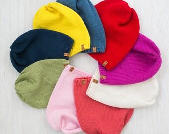 Kid's Knit Hat / Slouchy Beanie / Toddler Knit Beanie / Toddler Knit Slouchy Hat / Boys Girls Beanie / Wool Merino Kids Hat / 1 pcs