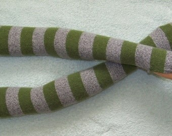 Lambswool, Stripes, Green and Gray melange, Very Long Arm Warmers, Soft , Warm Fingerless Gloves, Boho with Thumb Hole. IDEAL for HER