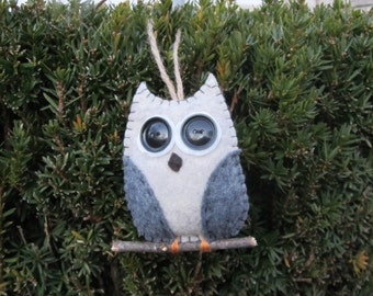 Felt owl ornament on a branch, grey winged, single owl ornament