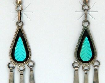 Native American Zuni Handmade Sleeping Beauty Turquoise Feather Dangle Earrings