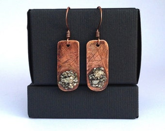 Rustic handmade copper earrings, pyrite gemstone, antiqued copper jewelry, recycled copper