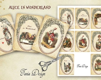 Alice in Wonderland  - digital collage sheet - set of 8- Printable - Download - Scrapbooking - Greeting cards