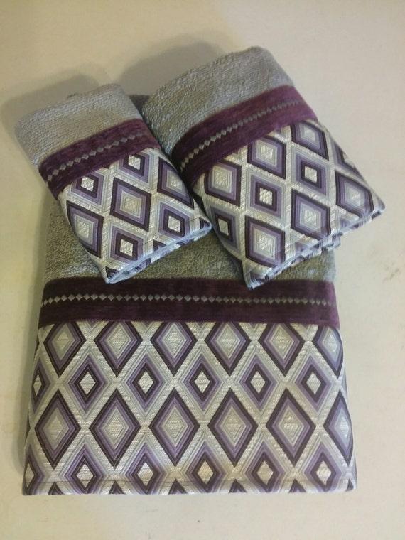 Plum purple and silver diamond bath towel set by - Purple and silver bathroom ...
