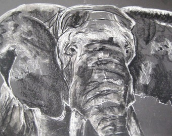 Charcoal Elephant Illustration 5x7 Print