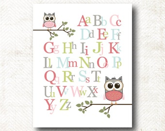 Instant Download | ABC's Nursery Art Print with owls (Girl85)