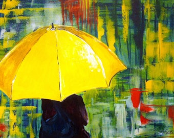 HIMYM-Inspired Girl with a Yellow Umbrella Acrylic Print with Right-Time-Right-Place Card