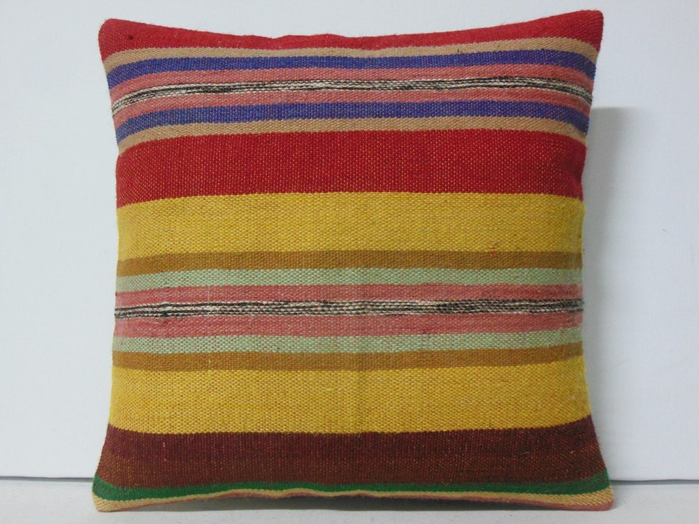 gold stripe throw pillow multicolor fabric by DECOLICKILIMPILLOWS
